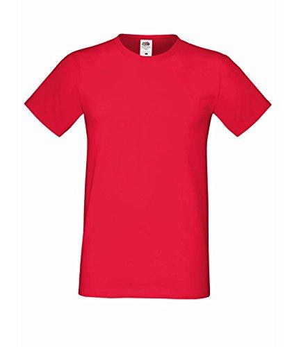 10er Pack Fruit of the Loom Men´s Sofspun® T-Shirt Crew Neck TShirt Herren S-3XL Rot