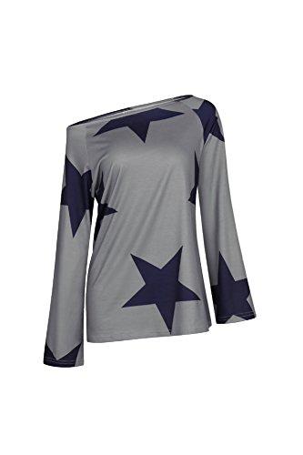 Freestyle Donne Casual Camicie Tops Tunica Girocollo Maglie a Manica Lunga con Spalla in Mostra Stampate Stella Blouse T Shirt Ragazza Senza Spalline Maglietta Grigio