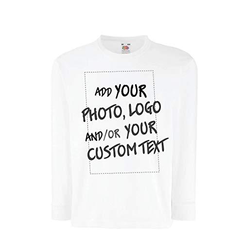 lepni.me Kinder-T-Shirt mit Langen Ärmeln Individuelles personalisiertes Geschenk, Firmenlogo, eigenes Design oder Foto hinzufügen (9-11 Years Weiß Mehrfarben)