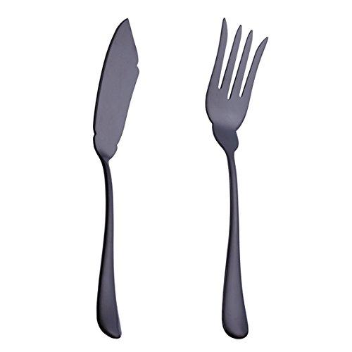 20Besteck Besteck Set Service für 4Edelstahl Besteck Geschirr u.a. Messer Gabel Löffel Spülmaschinenfest Black1 1 sets Self-fish Knife & Fork Black1 1 sets Self-fish Knife & Fork Fish Serving Fork