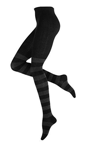 Vincent Creation Warme und Modische Damen Baumwoll Strumpfhose mit Blockstreifen, Strickstrumpfhose gemustert -