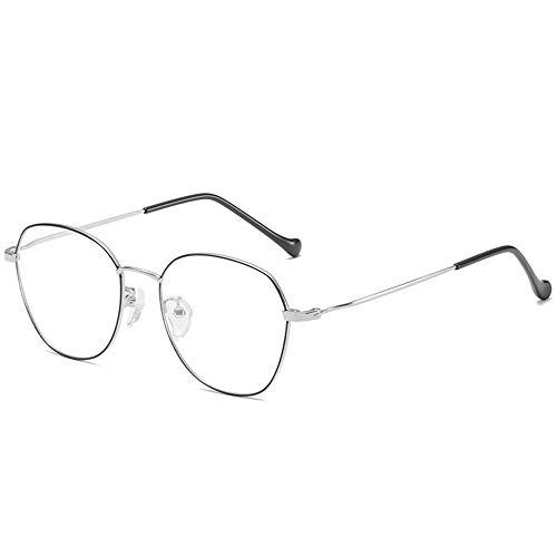 Kurzsichtiger Brillentrahmen, Metallspektakel -Rahmen, Großer Rahmen, Retro -Schlichtes Objektiv, Die Gleiche Art Von Myopie Für Männer Und Frauen,Schwarz Silber