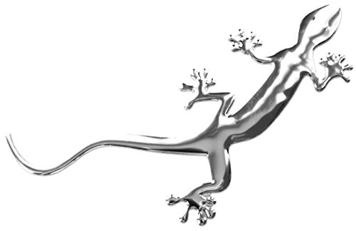 PRESKIN 3D Gecko, Süßer silbener Hochglanz Aufkleber, Selbstklebende Metall-Optik Relief-Sticker Decal für Auto, KFZ, Motorrad, Roller, Notebook, Haustür, Kühlschrank ... -