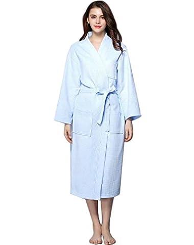 Minetom Robe de Chambre Kimono Tissage Gaufré Femme 100% Coton Waffle Peignoir de Bain Légère col V Unisexe Pyjama Pour l'hôtel Spa Sauna Vêtements de nuit Bleu Clair FR 36