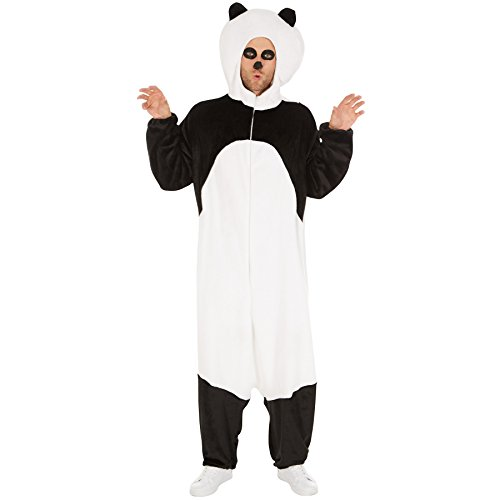 Kostüm Panda für Sie und Ihn | Aus weichem Plüschstoff | Coole Kapuze, die den Pandakopf darstellt | Ideal für Straßenumzüge geeignet (M | Nr. 300884) (Einfache Gruppe Halloween Kostüme 2017)