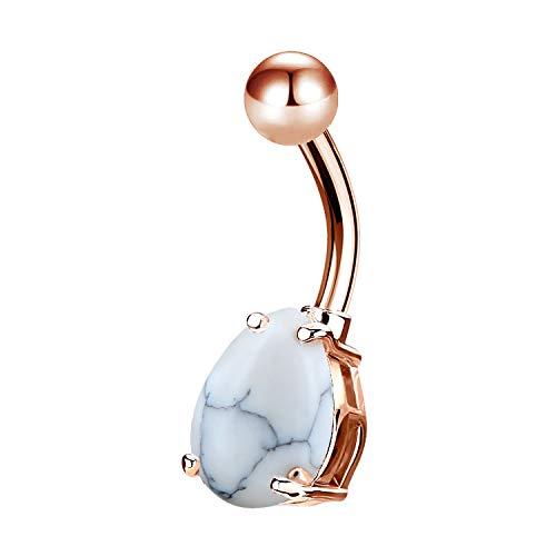 OUFER 14G 316L Edelstahl Belly Button Rings Rose Gold Teardrop Stein Navel Rings Bauchnabelpiercing Schmuck (Teardrop Belly Button Ringe)