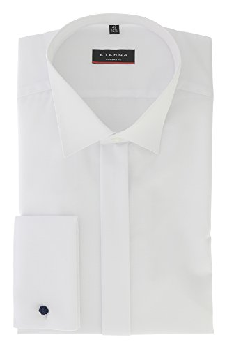 ETERNA Langarm Hemd MODERN FIT Chambray unifarben Weiß