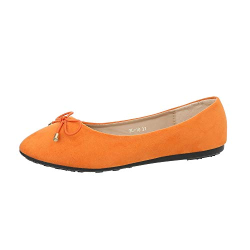 Ital-Design Damenschuhe Ballerinas Klassische Ballerinas Synthetik Orange Gr. 39 - Orange Ballerinas Schuhe Frauen