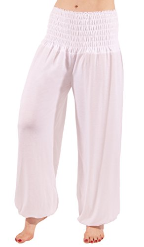 FASHION YOU WANT Damen Haremshose Pumphose Aladinhose Sommerhose Modal Jogginghose Yoga Pilates Stretch Hosen Pants Relax Festivalhose ideal für Sport und Freizeit (38/40, weiß)