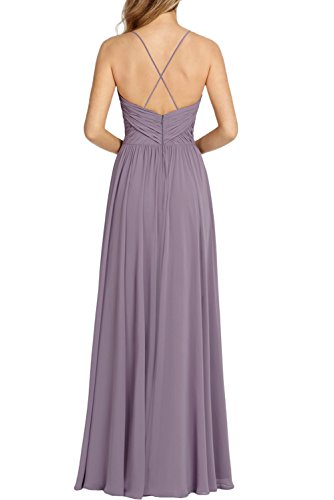 Missdressy Romantisch A-Linie Lang Spaghetti V-Ausschnitt Chiffon Abendkleider Brautjungfernkleider Blau