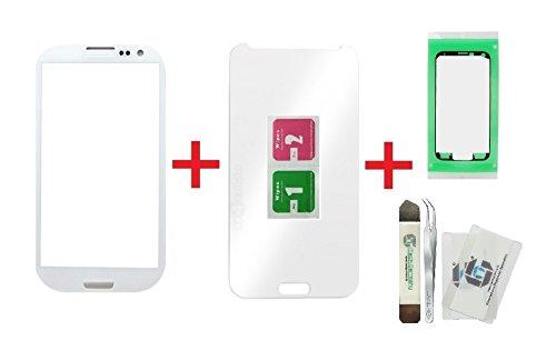 iTG® PREMIUM Juego de reparación de cristal de pantalla para Samsung Galaxy S3 Blanco - Panel táctil frontal oleofóbico para i9300 i9301 i9305 NEO LTE + Protector en vidrio templado, 3M Adhesivo precortado y iTG® Juego de herramientas