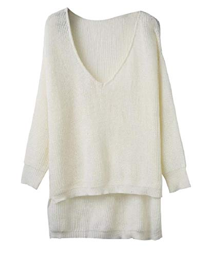 Womens V-neck Argyle Pullover (CuteRose Women Casual Cut Out Shoulder Irregular Deep-V Neck Sweater Top White OS)