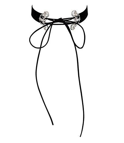 SIX Oktoberfest Schmuck Damen, Kurze Damen Halskette, Schwarzer Samt Choker, Silberne Ornamente mit Blumen, Karneval, Fasching (730-500) (60's Inspiriert Halloween Kostüme)