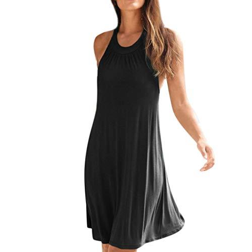 CUTUDE Damen Kleider Einfarbig Rückenfrei Halfter Frauen Kleid Bohemien Minikleid Mode 2019 Knielänge Partykleid Ärmellos Strandkleid