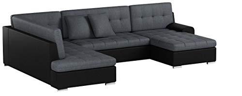 ARBD Wohnlandschaft, Couchgarnitur U-Form, Rocky mit Schlaffunktion 325 x205cm schwarz/grau, Ottomane Links