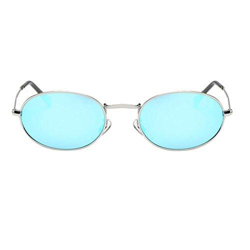 Baoblaze Lennon Retro Vintage Sonnenbrille Kunsttsoff Rundbrille runde Gläser Brille UV400 Brillen - Slivery Frame Slivery Blaue Linse