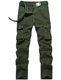 5b8ce49304e2 Zhhlinyuan Arbeitshosen Männer Latzhose - Herren Kampf Cargo Hosen mit  Kniepolster Taschen Lässig Baumwolle Schlank Arbeitskleidung