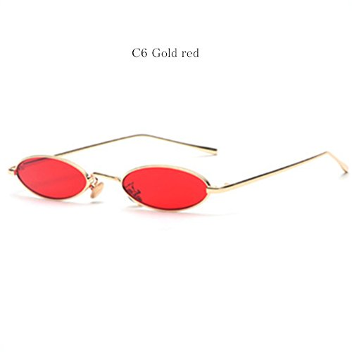 Sonnebrille UV400 Mirrored Metal Frame Herren Damen Sunglasses Reflektierende Spiegel Objektiv Gold Rot