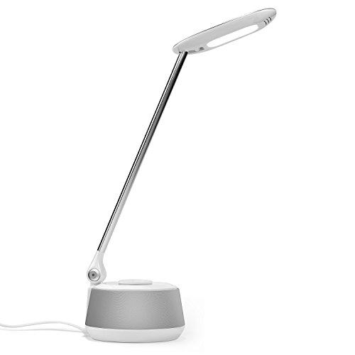 LED Schreibtischlampe mit Bluetooth Lautsprecher - August LEC630 - Tischleuchte mit integriertem Lautsprecher (Weiß)