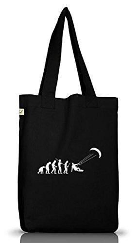 Shirtstreet24, EVOLUTION KITESURFEN, Kitesurfer kiten Jutebeutel Stoff Tasche Earth Positive Black