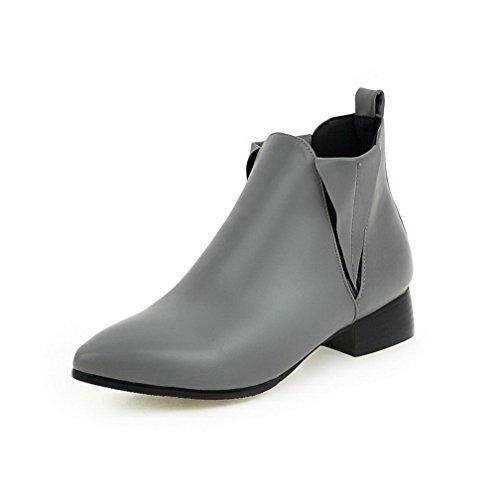 AgooLar Damen Niedriger Absatz Niedrig-Spitze Rein Ziehen Auf Stiefel Grau