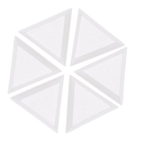 JAGETRADE 10 Pièces Triangulaire Plaque Plateau Ongles en Plastique Triangle Strass Perles Cristal Nail Art Tri Plateaux Blanc