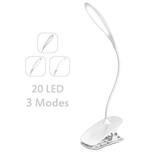 LED Leselampe, Thinkcase Klemmleuchte Wiederaufladbar LED Leseleuchte, Tragbare und Dimmbares Leselicht, 360° Flexibel Schreibtischlampe mit Clip und USB-Kabel