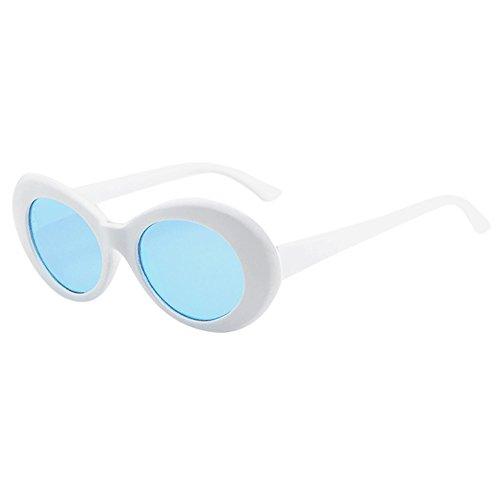 Clacce Sonnenbrille Mit Rundem Gestell, Retro Vintage Unisex Sonnenbrille Rapper Oval Shades Grunge...