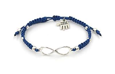 """Bracelet en macramé""""Infinity"""", Bleu, Unisexe, Fait à la Main"""