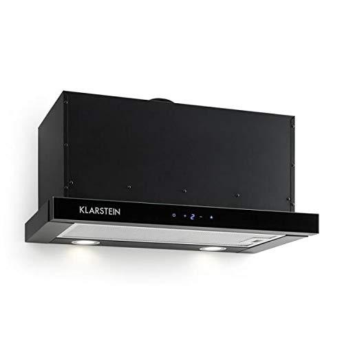 Klarstein Vinea - Hotte aspirante, Extra plate, Extractible, 610 m3/h, Eclairage halogène, Fonction extraction, 2 filtres à graisses, Matériel de montage fourni, Noir