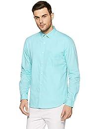 Park Avenue Blue Slim Cotton Casual Shirts