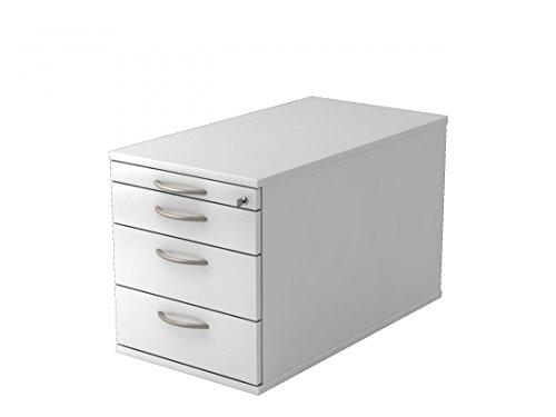 DR-Büro Rollcontainer - 42,8 x 80 x 51,2 cm - Container 6 Farben - 3 Schubladen und 1 ORGA-Schublade, Farbe Büromöbel:Weiss -