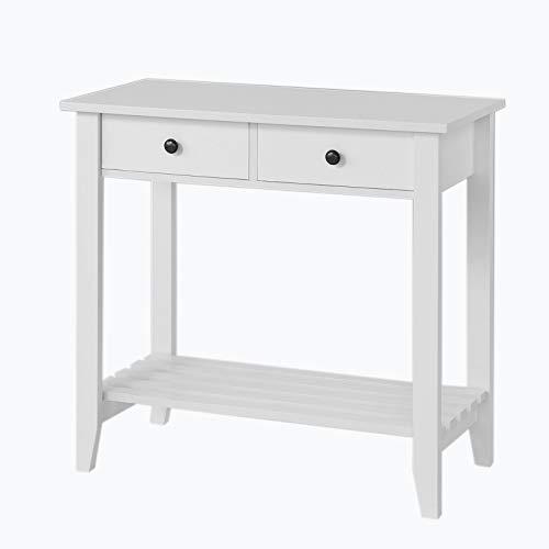 Sobuy tavolo consolle con 2 cassetti mobili ingresso shabby bianco, fsb04-w