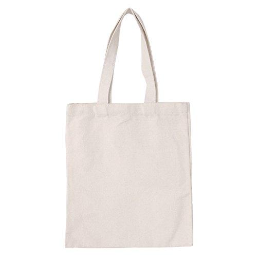baiyao Natürliche Baumwoll-Tragetaschen, DIY Canvas Tote Bag für Frau Stoff Einkaufstasche Schultertaschen blanko Faltbare Einkaufstasche Zero Abfallbeutel Leinwand Taschen wiederverwendbar Lebensmittels Leinwand Tasche Vertikal