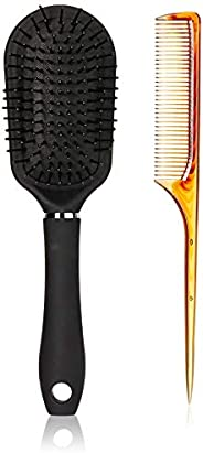 Amazon Brand - Solimo Long Tail Comb + Paddle Hair Brush Combo