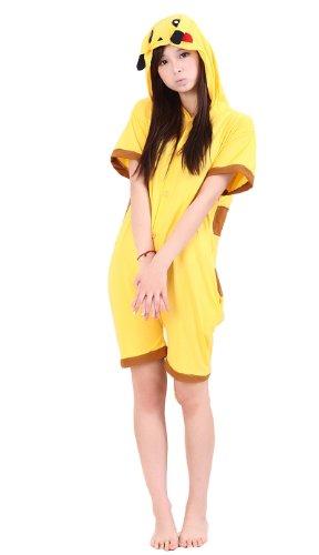 UUstar ® New Short Sleeves Unisex Nachtwäsche Kapuzenpullover Strampelanzug Pyjama Cosplay Kostüme für Pokemon Dinosaur Stich Rilakkuma Mein Nachbar Totoro T -shirt (M (160cm-169cm), Pikachu) (Strampelanzug Pyjama Mädchen)