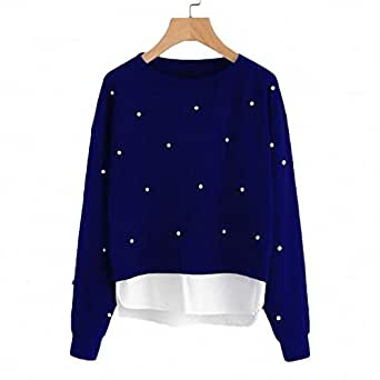 Khhalisi Women's Round Neck Sweatshirt with Pearls and Side Pockets Navy
