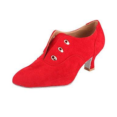Silence @ Chaussures de danse pour femme Practise Chaussures/piste de danse/moderne en daim Chunky Talon Noir/marron/rouge Red