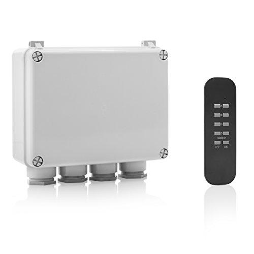 funksteckdose garten Smartwares SmartHome Funk-Dreifachschalter für Geräte bis 400 W mit Fernbedienung 4-Kanal für den Außenbereich, IP55, 1 Stück, SH5-SET-OB