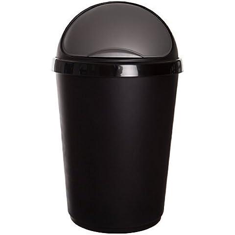 Bullet Bin riciclaggio rifiuti cartone plastica smaltimento rifiuti con coperchio 50 Litre Black