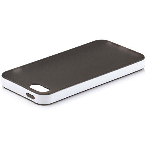 iCues Apple iPhone SE / 5S / 5 |  Bicolor TPU Case Lila | [Display Schutzfolie Inklusive] Silikon Gel Schutzhülle Hülle Cover Schutz Black