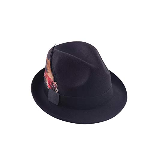 thematys Jäger Hut in schwarz mit Feder Bayern - Trachtenhut für Erwachsene perfekt für Karneval, Halloween & Cosplay (Feder Hut Mit)