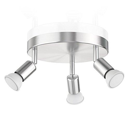 ledscom.de Deckenleuchte LUNARA, dreiflammig inkl. 340lm LED GU10 Lampen, weiß - Chrom-finish 3-lampe