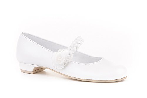 Zapatos de niña Fabricados en Piel para comunión con tacón. Calzado de niña Hecho a Mano - MiPequeña...