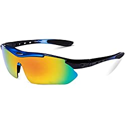 Gafas de Sol Deportivas Polarizadas,Carfia TR90 UV400 Unisex Gafas de Sol Deportivas Polarizadas 5 Lentes de Cambios Incluido para Deporte y Aire Libre Ciclismo Conducción Pesca Esquiar Golf Correr