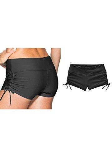 Badeshorts Damen UV Schutz Schwarz Wassersport Schwimmen Bikinihose Schwimmshorts L
