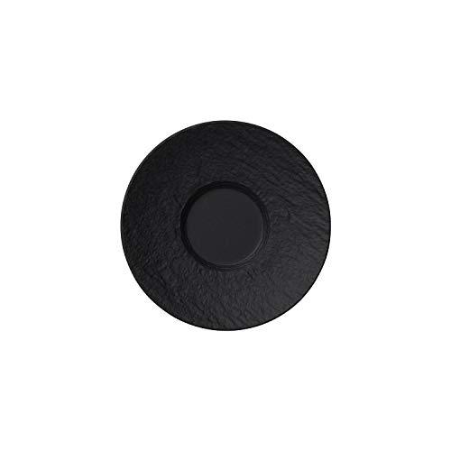 Villeroy & Boch Manufacture Rock Mokka-/ Espresso-Untertasse, 12 cm, Premium Porzellan, Schwarz