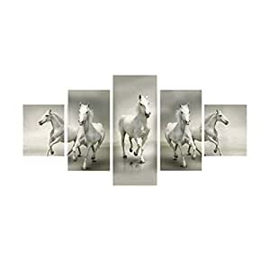 eCraftIndia 'Running Lucky Horses Design' Painting (Canvas Print, 127 cm x 60.96 cm, White, Set of 5)