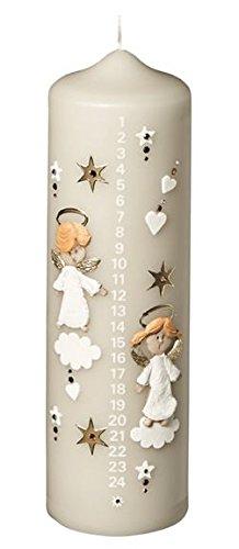 Weihnachtskerzen Adventskalenderkerze 1-24, Hellgrau, Größe 20 x 6 cm, handverzierte Kerze mit aufgelegten Engel, Adventkerze