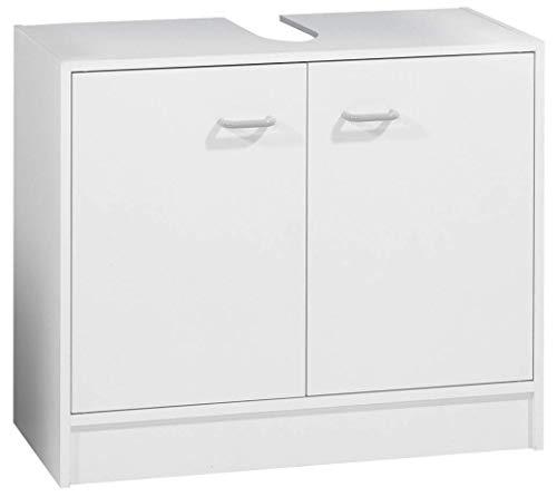 FACKELMANN Waschbeckenunterschrank STANDARD / Badschrank mit Kunststoffgriffen / Maße (B x H x T): ca. 65 x 55 x 29 cm / Schrank fürs Bad / Möbel fürs WC oder Badezimmer / Korpus: Weiß / Front: Weiß / Breite 65 cm